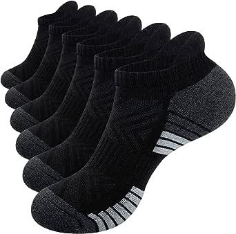 Tmani Mens Running Socks, 6 Pairs Womens Trainer Socks Anti-blister Odor-free Cushioned Sports Socks Cotton Gym Socks Walking Socks Comfort Fit Ladies Ankle Socks for Men Women