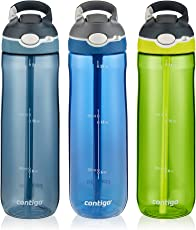 Contigo AUTOSPOUT Straw Ashland Water Bottles, 24 oz, Stormy Weather/Vibrant Lime/Monaco, 3-Pack