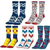 MOOKLIN ROAM 5 pares de Calcetines Estampados Colores Hombres Mujeres Termicos Invierno Divertidos Calcetín de Algodón Unisex