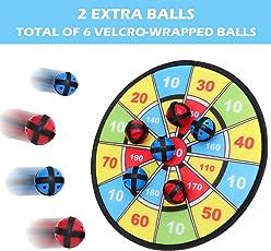 BETTERLINE Stoff und Klett Dartscheibe Spiel mit 6 Klettbällen | Groß 30 cm Durchmesser | Sicher für Kinder