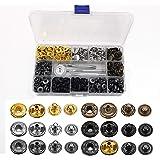 120 Sets Leren Drukknopen Kit, Koperen Drukknopen Voor Kleding Metalen Drukknopen Drukknopen Met 4 Bevestigingsgereedschappen