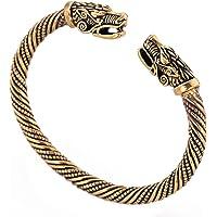 Bracciale rigido con testa di drago vichingo in metallo con nodo celtico irlandese