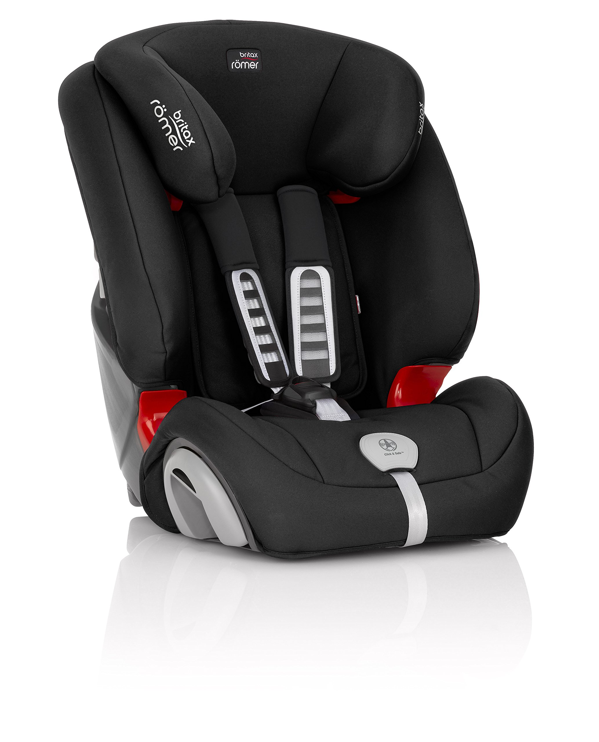 Britax Römer EVOLVA 1-2-3 PLUS Group 1-2-3 (9-36kg) Car Seat - Cosmos Black  Installation, 3-point seat belt only , Forward facing installation 9 - 36 kg CLICK & SAFE audible harness system for that extra reassurance when securing your child in the seat The padded headrest and harness can easily be adjusted with one hand to suit your child's height. Its 5-point harness, performance chest pads and highback booster protection ensure maximum safety for your child from 9 months all the way up to 12 years 3