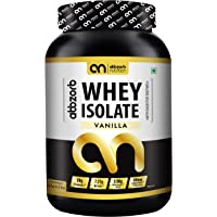 Abbzorb Nutrition Whey Isolate 28g Protein | 7.2g BCAA with Digestive Enzymes Vanilla Flavour (1 Kg Jar)