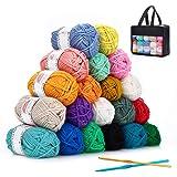 SOLEDI Pelotes de Laine en Acrylique, Kit de Fil Acrylique Hyper Doux pour Tissage à La Main Avec 2 Crochets et Sac de Rangem