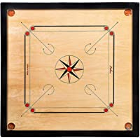 Carrom Board - 32 Inch - Wood Round Pocket with Coins, Striker, and Powder (Brown)