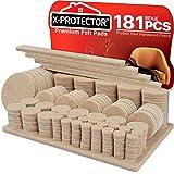 Vilten Meubelpads X-PROTECTOR 181 stuks - Premium vloerbeschermers voor meubels, Ultra Large Pack Alle maten Meubelvilten pad