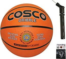 Cosco Dribble Basketball - Size 5 (Pack of 1) + Ball Pump Double Action (Pack of 1) with SportsHouse Cotton Wrist Band