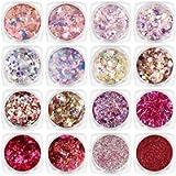 tao pipe 16 Boxes Nail Glitter Sequins Powder, Sparkle Nail Art Glitters Shining Holographic Nail Glitter Flakes…