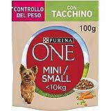 Purina One Umido Cane Mini Bocconi in Salsa controllo Del Peso con Tacchino, Carote e Piselli, Per Cani Fino A 10 Kg - 20 Bus