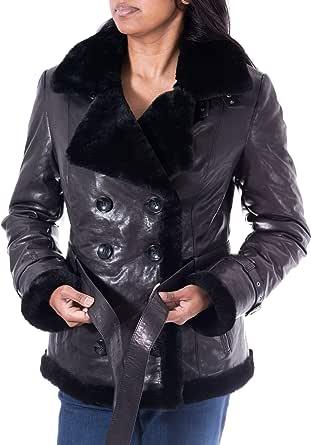 A to Z Leather delle Donne Nero con Nero Pelliccia Pea Coat Rivestimento di Cuoio Reale Montone di Pecora