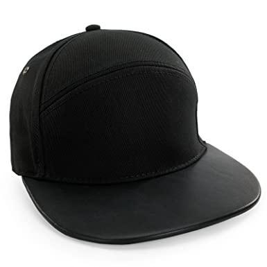 13d93b357fa Men Women Snap Back Cap Leather Peak Baseball Hat Snapback 100% Cotton  (Black)
