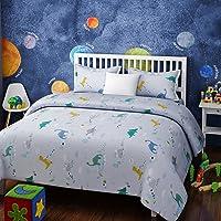 RAGO Kids DINAUSAURS Blue and White BEDSHEET Set (King)