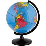 World Globe Great for Kids and Adults with Stand Desk 8 Inch Globe 12 Inch Educational Deluxe Blue Ocean Black Base Full Eart
