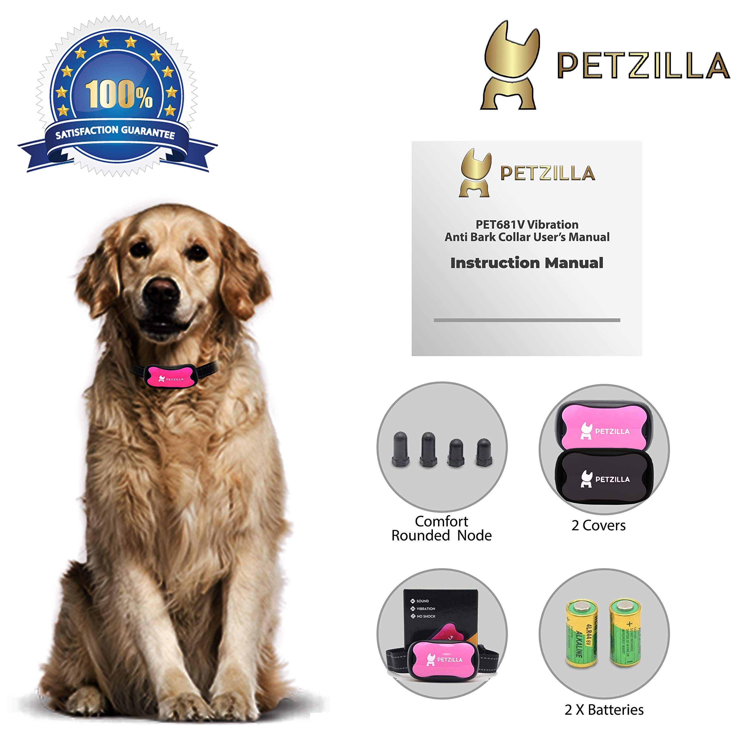 Petzilla 683 Anti Bark Collar No Bark Collar No Shock No Spray Bark Control Safe & Humane Anti Bark Collar | Sound & Vibration Barking Control Device