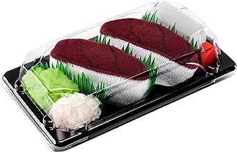 Rainbow Socks - Woman Man Sushi Socks Box Tuna - 1 Pair