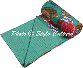 Traditional Ethnic Kantha Indian Bedding Single Emerald Green Cotton Tropical Fruit Hand Stitched Bedding Bed Cover by Stylo Culture