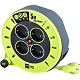 Masterplug Pro-XT kabelhaspelverlengkabel met 4 aansluitingen, wikkelzwengel en warmtebescherming, 5 meter goed zichtbare kab
