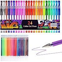 Penne Gel Glitter ZSCM Confezione da 48 Penne Gel Colorate Il Set include 24 Pennarelli Gel, 24 Ricariche, Penne Glitter…