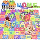 GOLDGE 72pcs Tappeto Puzzle, 15 x 15cm Soffice Schiuma Morbido Eva Tappetone, Incastro Tappeto Gioco Pavimento Mattonella, Ba