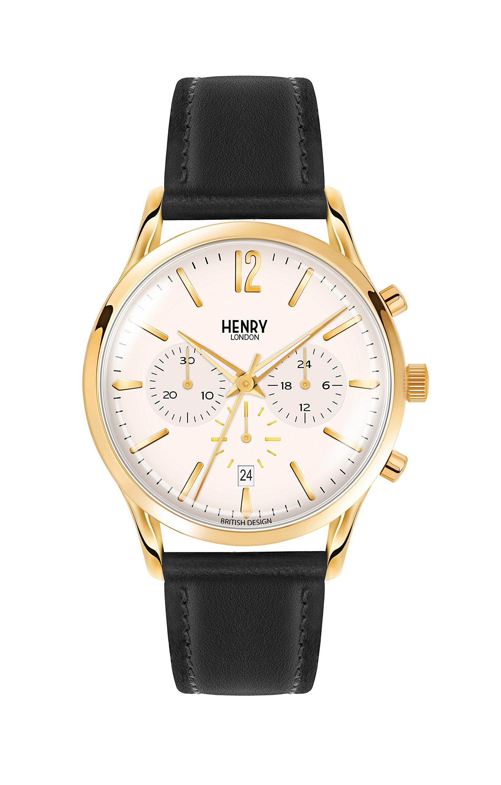 Henry London Unisex Westminster Quartz Watch with Beige Dial Chronograph Display and Black Leather Strap