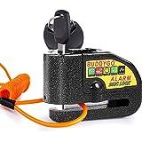 Candado Disco Moto, BUDDYGO Candado Cerradura 7mm con Alarma 110DB Antirrobo, 1.5m Cable Recordatorio, Candado Bolsa, 3 Llave