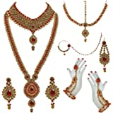 Lucky Jewellery Bridal Dulhan Designer Pearl Stone Set 9 pcs. for Girls & Women (3630-IZS-1611-PARENT)