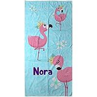 LolaPix Strandtuch Flamingo. Personalisiert Strandtuch. Strand Badetuch mit Namen. Personalisierte Handtuch…