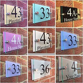 e8456e32932e Avalon House Number Sign Plaque Modern Frosted Glass Effect: Amazon ...