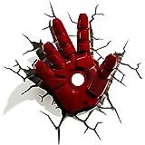 3D Light FX 816733840598 Marvel Iron Man 3D-nachtlampje, design: hand, rood