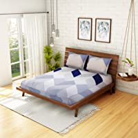 Welhome 160 TC Microfibre Double Bedsheet with 2 Pillow Covers - Blue