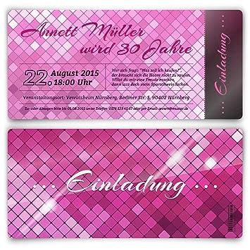 Einladungskarten Zum Geburtstag (30 Stück) Glamour In Pink Glanz Elegant  Edel Glamourös
