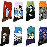 LJ calze sportive unisex, idea regalo, con dipinti retrò, calze da uomo con pittura ad olio (confezione da 8paia), Multicolo