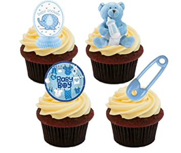 Baby Shower Boy, Blue Edible Cupcake Toppers   Stand Up Wafer Cake  Decorations (