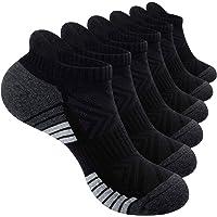 PULIOU Trainer Socks Running Sports Socks 6 Pairs Anti Blister Mens Socks Cushioned Cotton Athletic Socks for Men Women…
