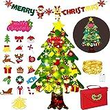 Zapdaz Árbol de Navidad de Fieltro para niños, 3.6 ft DIY árbol de Navidad de Pared fijó con 50 Luces LED 34 Piezas Adornos,