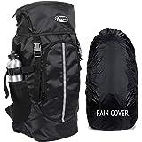 POLESTAR Hike BLK Rucksack with RAIN Cover/Hiking Backpack (56 x 28 x 28 cms )