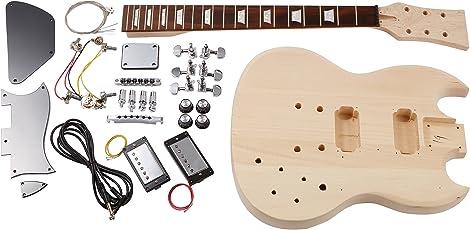 Rocktile DIY Double Cut Bausatz E-Gitarre (Do-it-yourself E-Gitarre Bausatz Double Cut-Style, Korpus: Linde, Hals: Ahorn geschraubt, Griffbrett: Palisander)