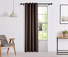 Amazon Brand - Solimo Riviera Door Curtain, 7 feet - Set of 1 (Chocolate Brown)