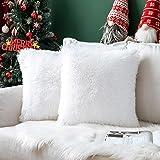 MIULEE Pack van 2 Faux Fur Throw Kussensloop Pluizige Zachte Decoratieve Vierkante Kussenslopen Pluche Case Faux Bont Kussens