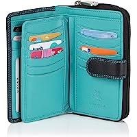 VISCONTI Leder Portemonnaie Damen RFID Schutz Geldbeutel Damen Geldbörse Bifold Mehrfarbig Portmonee in Geschenk-Box