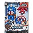 Marvel Avengers Titan Hero-reeks Blast Gear Captain America, actiefiguur van 30 cm, met launcher, 2 accessoires en projectiel