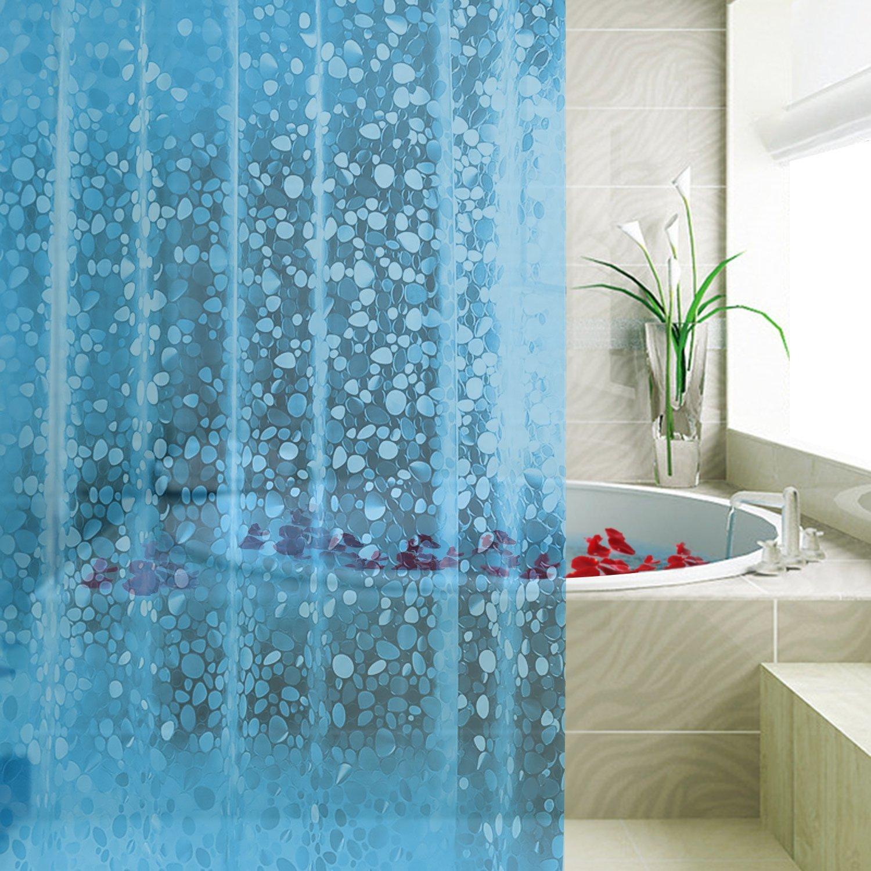 Blue Bathroom shower Curtains waterproof anti mold metal Hooks bath ...