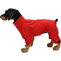 Geyecete Dog Zip Up Dog Raincoat, Rain/Water Resistant, Dog Raincoat Lightweight Pet Waterproof Jacket for Large Medium and Small Dogs Puppy Four Legs Poncho Red-XS