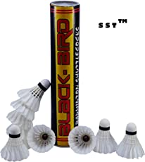 SST Badminton Shuttlecock White Pack of 10 High Quality Feather Shuttlecock