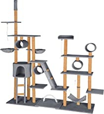 TecTake Katzen Kratzbaum Katzenbaum XXL | 2 Spielseile | 4 Röhren | 2 Treppen | 2 Liegemulden | Deckenhoch - verschiedene Farben