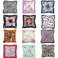 Joeyer 12 Pack Sciarpa in Raso Donna Foulard Quadrato Sciarpa di Seta Piccolo Sciarpa Quadrato Raso Fazzoletto (50 x…