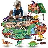 GILOBABY Jouet pour enfant dinosaure avec tapis de jeu 2 en 1 & arbres & rochers, apprentissage pédagogique Modèle dinosaure