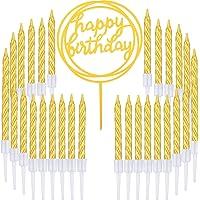 50 Pièces Bougies de Gâteau en Spirale d'or et Joyeux Anniversaire Gâteau pour Fourniture de Décoration de Gâteaux, 51…