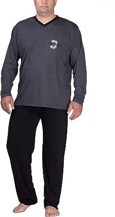 Moonline Plus - Sleepwear Men's Outsize Made of Cotton, Long Pyjamas for Men (Two-Piece, in Large Sizes)